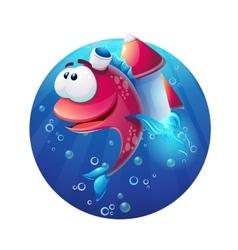 Underwater cartoon funny fish with rocket vector image
