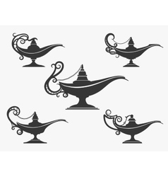 Aladdin lamp icon set vector image vector image