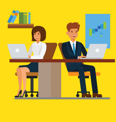 business people working on computer in office vector image
