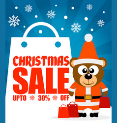 christmas sale background with funny bear vector image vector image