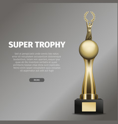 Gold super trophy with person holds laurel wreath vector