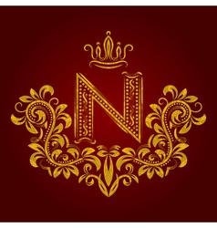 Patterned golden letter N monogram in vintage vector image vector image