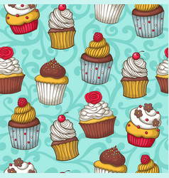 seamless pattern with cupcakes vector image