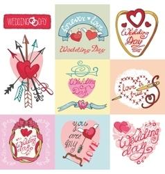 Wedding cards setInvitationsLabelsdecorative vector image vector image