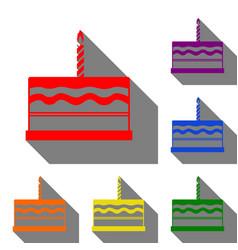 birthday cake sign set of red orange yellow vector image