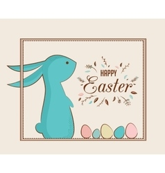 Easter bunny and Easter eggs greeting card vector image vector image