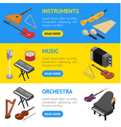 music instruments banner horizontal set isometric vector image