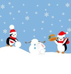 Penguins build a snowman vector image