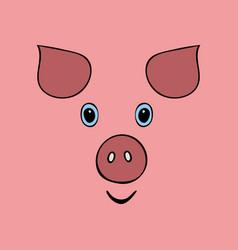 pig cute funny cartoon head vector image