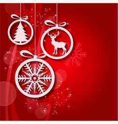 Red Christmas balls abstract background 2 vector image