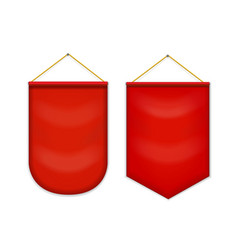 red pennant hanging on the wall mockup vector image