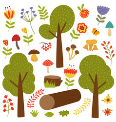 set of isolated trees and plants vector image vector image