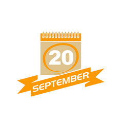 20 september calendar with ribbon vector