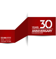 30 years anniversary design with red and white vector
