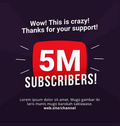 5m subscribers celebration background design 5 vector