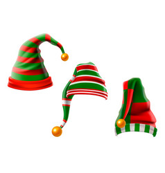a collection of funny hats elf hats set isolation vector image