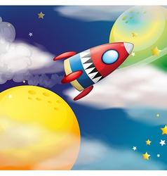 A spaceship near planets vector