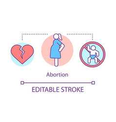 Abortion concept icon miscarriage idea thin line vector