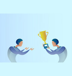 Abstract business man giving golden cup prize to vector