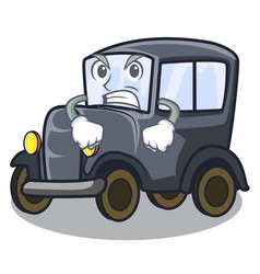 Angry old cartoon car in side garage vector
