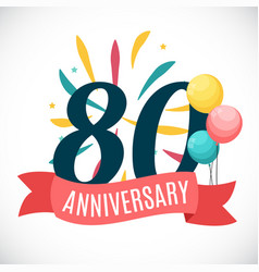 anniversary 80 years template with ribbon vector image
