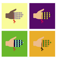 Assembly flat icons bloody hand vector