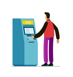 Atm machine payment using credit card vector