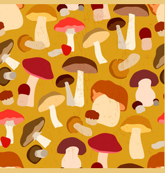 autumn seamless pattern with mushrooms vector image