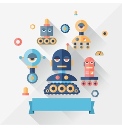 Background with robot in flat style vector