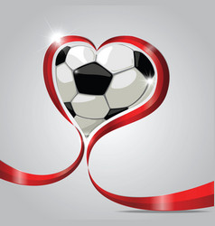 ball in red ribbon heart vector image