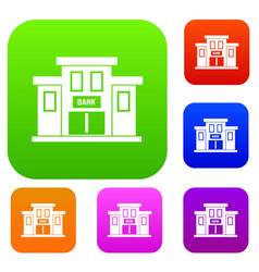 bank building set collection vector image