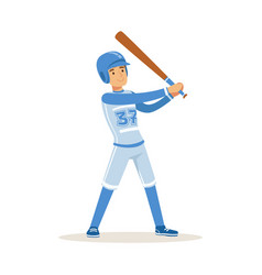 Baseball player in blue uniform getting ready to vector