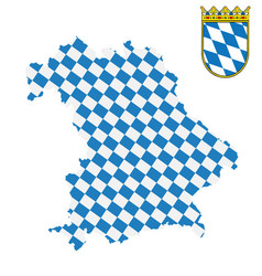 bavarian map and flag with coat arms bavaria vector image