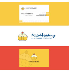 beautiful cake logo and business card vertical vector image