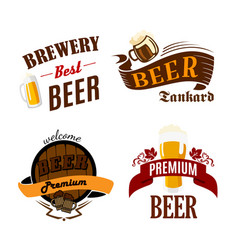 Beer pub isolated icons for brewery bar vector