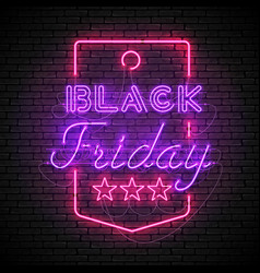 black friday purple neon sign in red price tag vector image