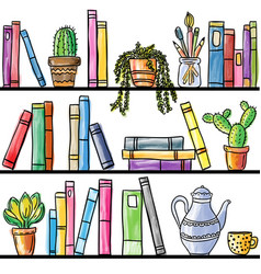 Book shelf seamless pattern vector