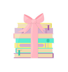 Books pile packaged as a gift vector
