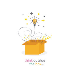 Box think outside light bulb line concept vector