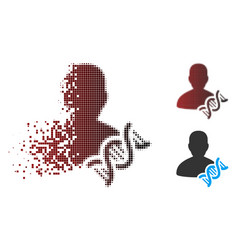 Broken pixel halftone geneticist dna icon vector