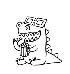 cartoon dragon in stereo glasses and a box of vector image