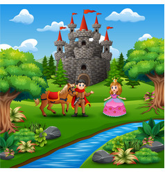 Cartoon of princess and prince couple in the castl vector