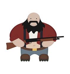 Cartoon redneck in red shirt with shotgun vector