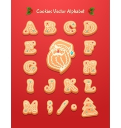Christmas gingerbread cookies alphabet vector image