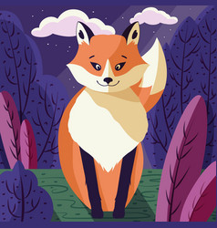 Colorful portrait cute red fox in forest vector