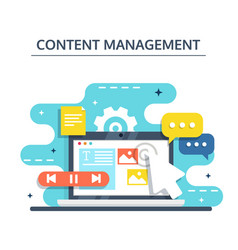 content management and blogging concept in flat vector image