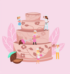 Cooking cake with chocolate cream and micro people vector