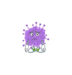 Coronavirus influenza mascot with worried face vector