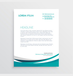 Creative blue wave business letterhead design vector