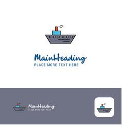 creative ship logo design flat color logo place vector image